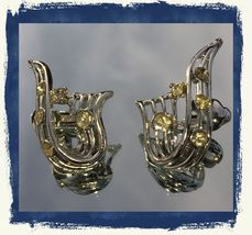 VTG 30s Silver Tone Openwork RIbbon Clear Paste Rhinestones Clip On Earrings~GVC image 1