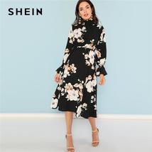 SHEIN Black Print Mock Neck Pleated Panel Floral Dress Elegant Ruffle St... - $54.99