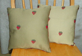 Pair of Beige & Cream Strawberry Decorative Print Throw Pillows  12 x 12 - $29.95