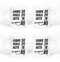Funny 80th Birthday Gifts 4 Pack Bundle Gag Mug For 1939 Men and Women. ... - $58.46