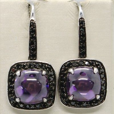 925 STERLING SILVER PENDANT EARRINGS WITH BLACK CUBIC ZIRCONIA & PURPLE CABOCHON