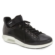 Ecco Men's CS16 High Lace Retro Sneaker Leather Comfort Shoe Black EUR 45 - $69.12