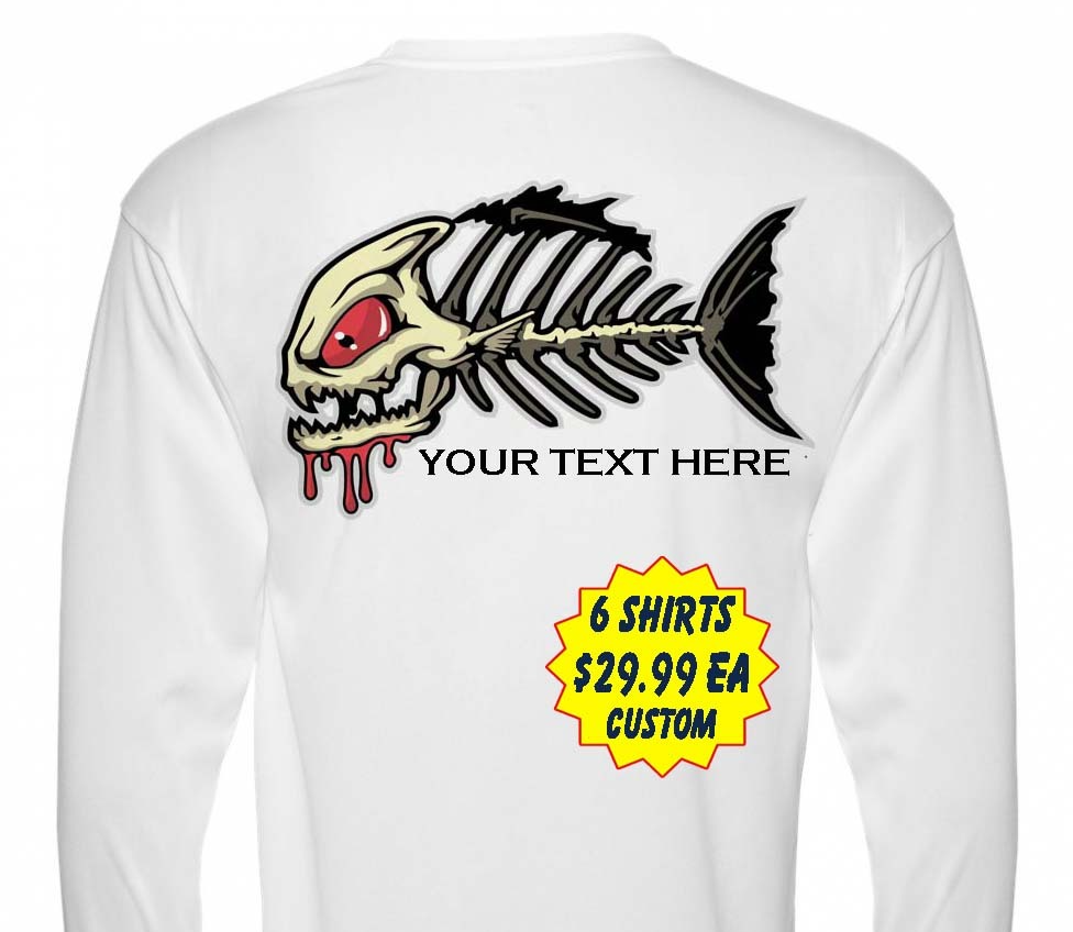 6 Personalized Custom Front & Back Printed Dri Fit Longsleeve Fishing Sun Shirt