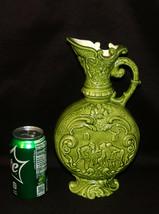 Vintage German Moon Flask Ewer Pitcher Green Porcelain Ewer Embossed Sce... - $89.00