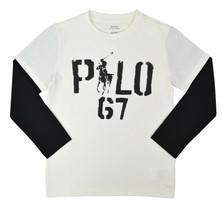 Polo Ralph Lauren White Black Long Sleeve Pony Graphic Tee Shirt Sz 5 95... - $23.55
