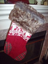 NEW Nordic FAIR ISLE REINDEER KNIT CHRISTMAS STOCKING W/ FAUX FUR Trim H... - $14.41