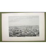 FRANC Toulouse View of City Town - 1880s Antique Print - $9.57