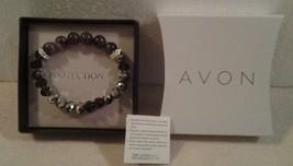 "Avon ""PROTECTION"" rose quartz & purple faceted glass bead bracelet one s... - $7.91"