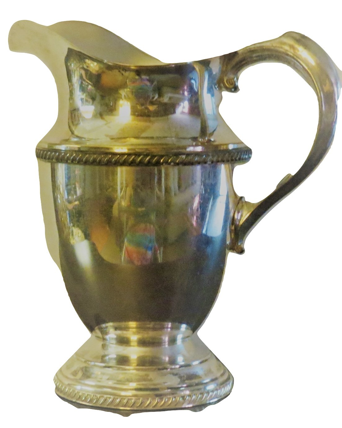 Viking Silver  water pitcher marked  V 16 A with ice lip 8 inches. Excellent con
