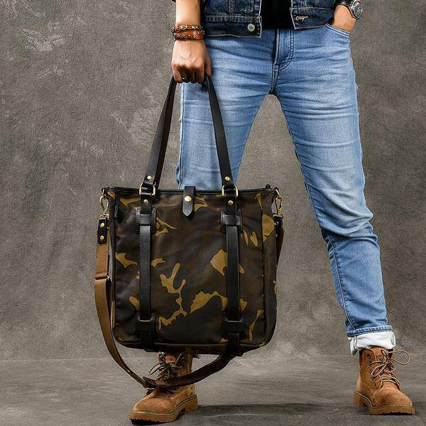 Sale, Canvas Men Tote Bag, Camouflage Shoulder Bag, Vintage Men Messenger Bag