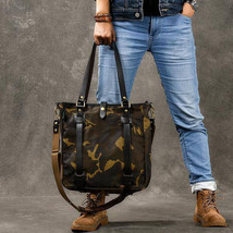 Sale, Canvas Men Tote Bag, Camouflage Shoulder Bag, Vintage Men Messenger Bag image 1