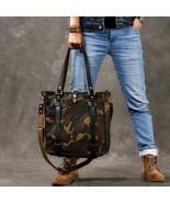 Sale, Canvas Men Tote Bag, Camouflage Shoulder Bag, Vintage Men Messenge... - $190.00