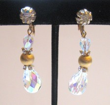 Vintage Gold, Crystal and Rhinestone Dangling Clip Earrings - $16.15