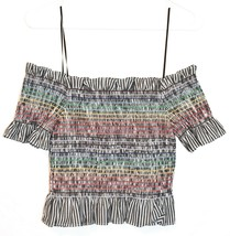 WAYF Women's Smocked Ruffle Rainbow Striped Off-the-Shoulder Crop Top Size S