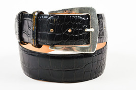 Etro Black Leather Crocodile Embossed Silver Tone Statement Buckle Belt - $50.00