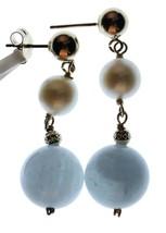 14k Gelbgold 6mm Weiß Süßwasser Kultivierte Perle 10mm Aquamarin Ohrhänger