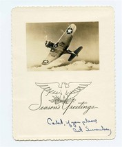 Aviation Cadet Seasons Greetings Photo Card USAAF Airplane WW2 - $21.78