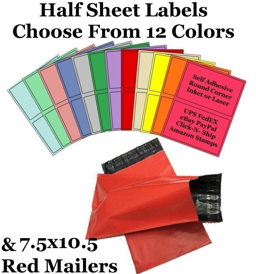 7.5x10.5 Red Mailers + 8.5x5.5 Color Half Sheet Self Adhesive Shipping Labels