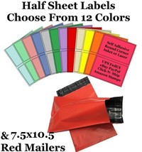 7.5x10.5 Red Mailers + 8.5x5.5 Color Half Sheet Self Adhesive Shipping L... - $2.99+