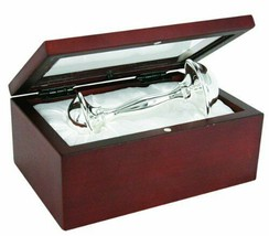 "Stephan Baby Satin-Lined Rosewood Keepsake Box with 4"" Silver Plated... - $47.43"