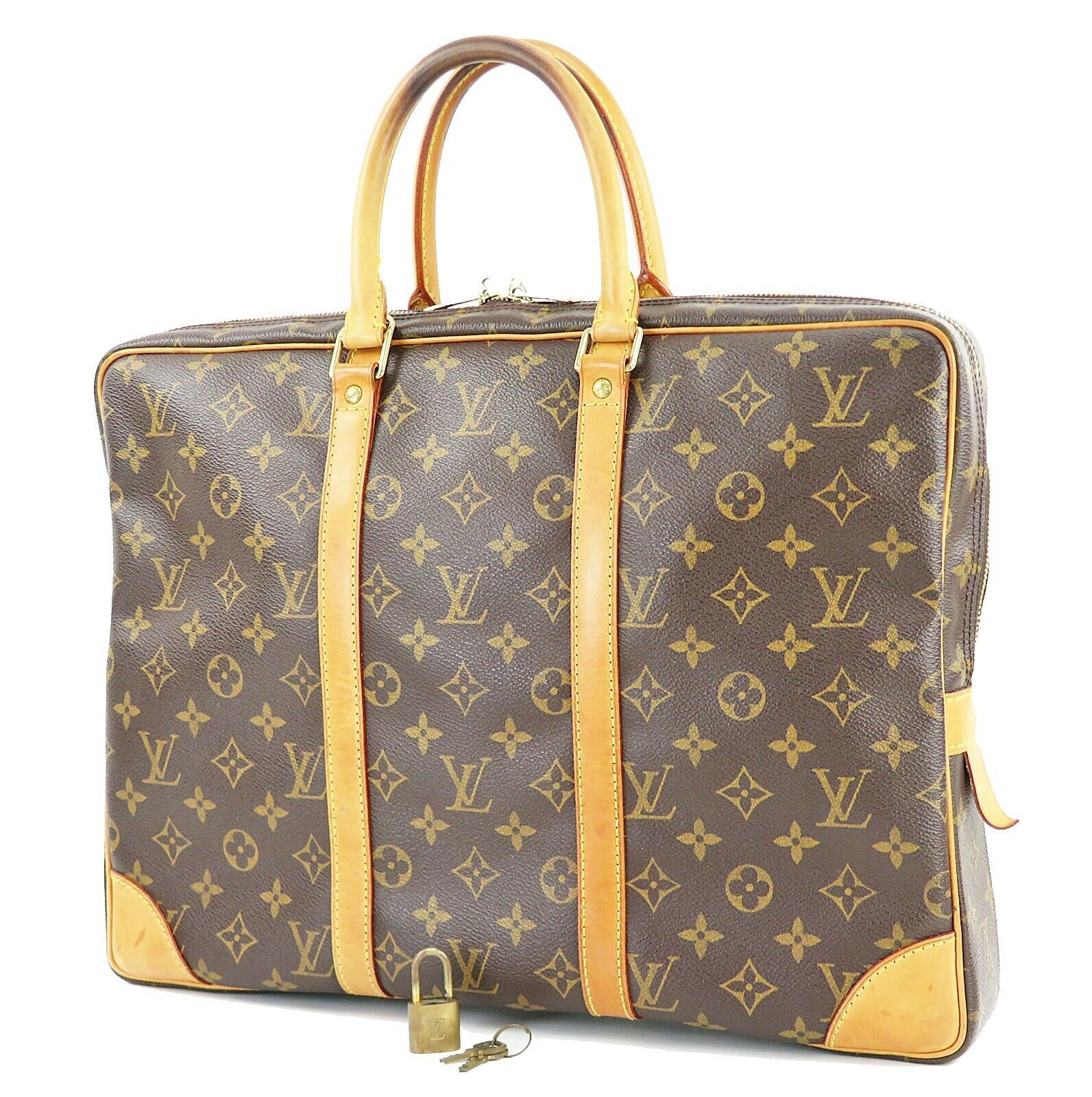 Authentic LOUIS VUITTON Porte-Documents Voyage Monogram Briefcase Bag #32069