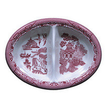 """CHURCHILL """"PINK WILLOW"""" DEVIDED VEGETABLE DIAH WHITE/PINK MADE IN ENGLAND NEW  - $49.50"""