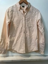 Eddie Bauer Womens Top Blouse Peach Long Sleeve Button Up 100% Cotton XS - $12.95
