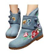 Vintage Beijing Cloth Shoes Embroidered Boots jeans 35 - $37.99