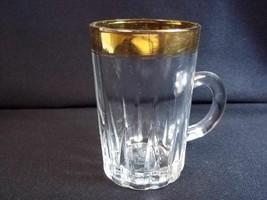 Gold rim shot glass or tea mug arabic impressed writing on base Bin Mahf... - £4.50 GBP
