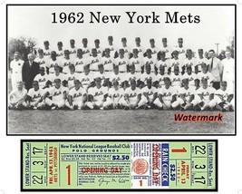MLB 1962 New York Mets Team Picture and Opening Day Ticket Stub 8 X 10 P... - $6.92