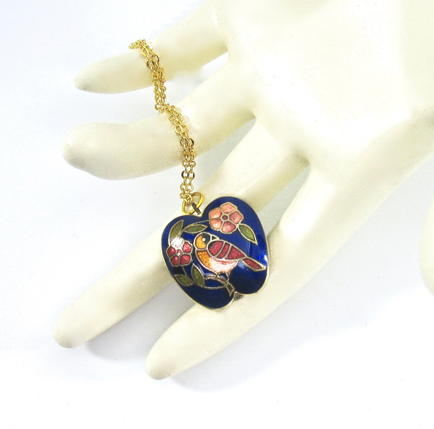 Cloisonne Pendant Necklace, Bird, Flowers, Blue, Pink, Asian, Gold Tone Chain, D