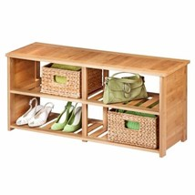 NEW Bamboo Wood Shoe Bench Entryway Organizer Storage Rack Mud Room Shoe... - $79.19