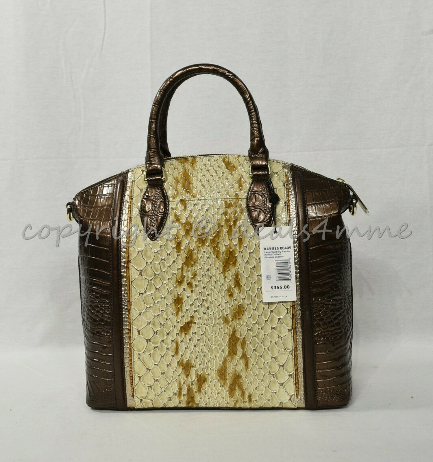 NWT Brahmin Large Duxbury Satchel/Shoulder Bag in Honey Carlisle image 7