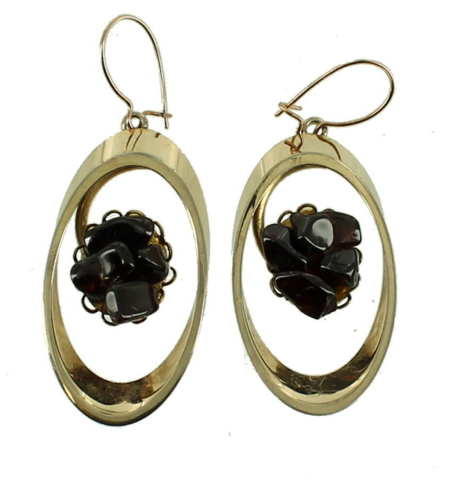 Primary image for VINTAGE SWOBODA MOD GARNET CHIP OVAL DROP DANGLE EARRINGS 60'S COOL!
