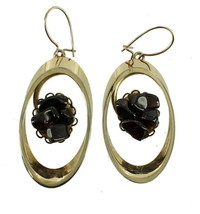 VINTAGE SWOBODA MOD GARNET CHIP OVAL DROP DANGLE EARRINGS 60'S COOL! - $60.74