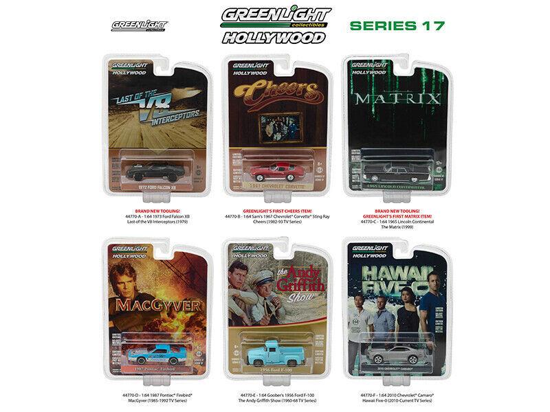 Greenlight Hollywood Series Release 17 6 piece Diecast Car Set 1/64 Diecast