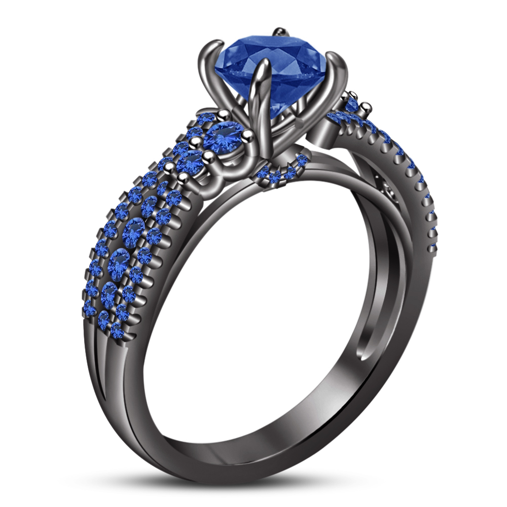 Bridal Wedding Ring Set 14k Black Gold Plated 925 Silver Round Cut Blue Sapphire