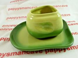 TAMAC POTTERY~ Avocado~MID CENTURY~ PERRY, OKLAHOMA~ Suger bowl & Saucer... - $12.99