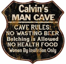 Calvin's Man Cave Rules Personalized Shield Metal Sign Gift 211110007255 - €21,10 EUR
