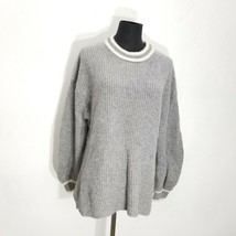Ann Taylor Womens Sweater Size L Pullover Cashmere Puff Sleeve Knit Gray... - $31.92