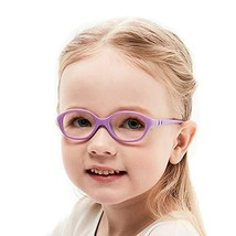 Unbreakable Flexible Kids Glasses Frame with Clear Oval Lens Cute Purple... - $20.67