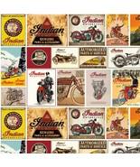 Indian Vintage Signs w/White B/G-Riley Blake-BTY-Motorcycles-Man-Boy-Fun - $12.95