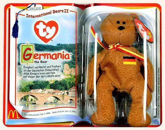 Germania Bear McDonalds Ty Teenie Beanie Baby 2000 International Bears II MINT