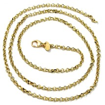 """SOLID 18K TWO TONE GOLD, 2.5 MM SIDE DIAMOND CUT ROLO CABLE CHAIN, BRIGHT 18"""" image 1"""