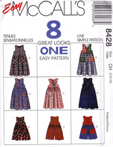 McCall's 8428 Girls Jumper Romper Sewing Pattern Childrens Sizes 7-8-10 ... - $7.99