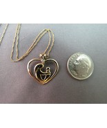 """10k Mother Child Pendant Necklace Yellow Gold Diamond 18"""" Chain Open Wor... - $81.17"""
