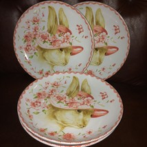 """(6) 222 FIFTH Bunny Party Pink Hat Salad/Dessert Plates 8""""  ~NEW ~ - $79.98"""