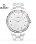 STARKING® Quartz Watch Diamond Bracelet Geneva Rose Gold Rhinestone Ceramic - $59.30