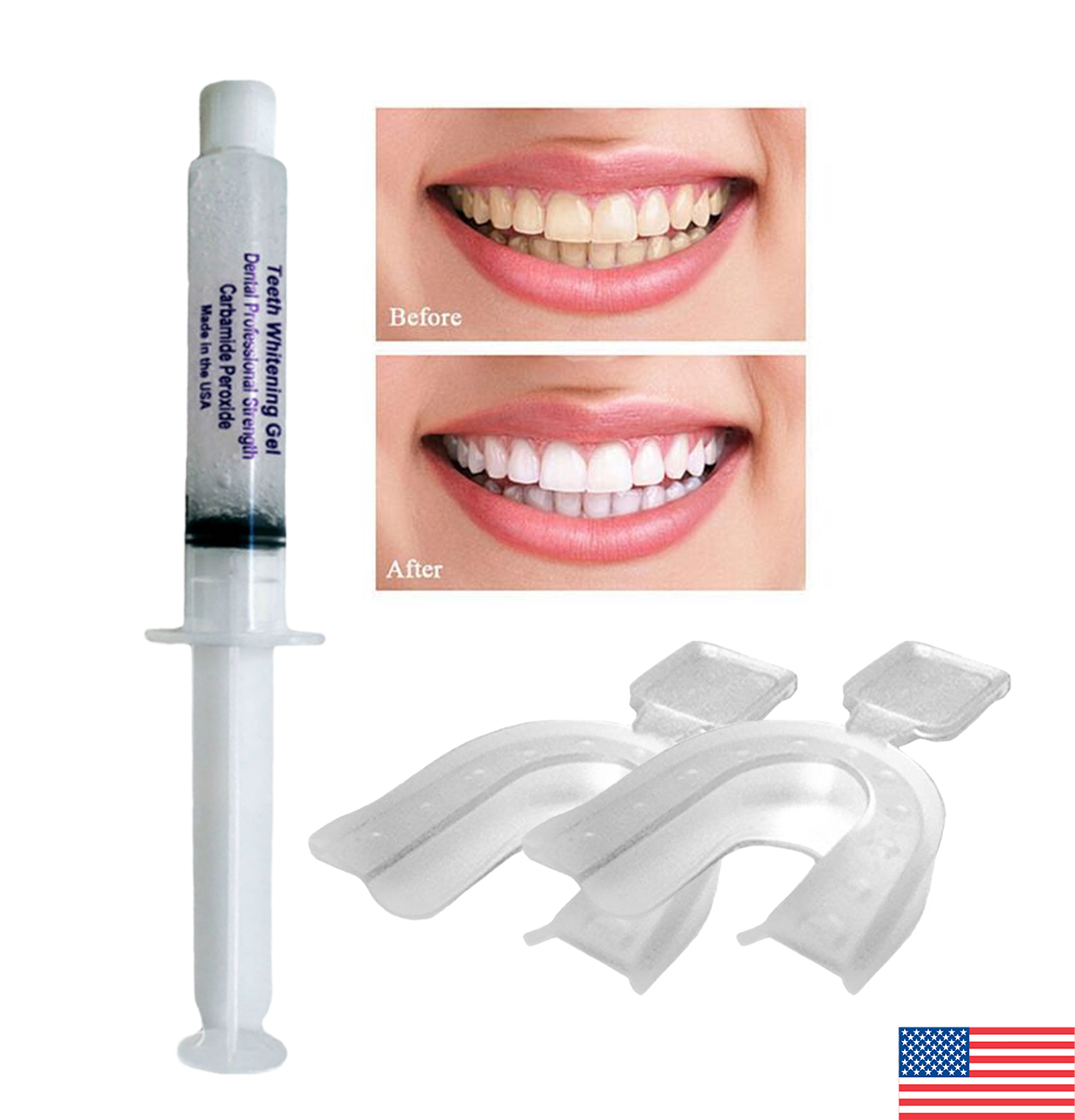 Teeth Whitening Gel Syringe 35% Tooth Bleaching + FREE 2 Thermoforming Trays ! ! - $8.95