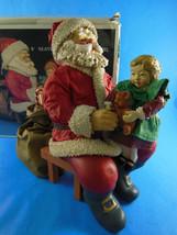 "Kurt S Adler 8"" sitting Santa w little girl Paper-Fabric Mâché Clothtique In Box - $39.59"